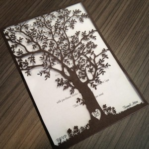 Wedding card tree laser cut folding card