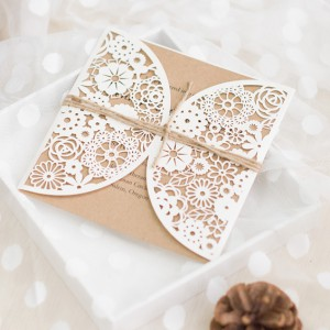 Wedding card laser cut ribbon