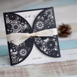 Wedding cards laser cut satin band