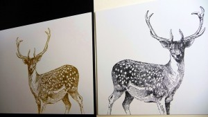 Heißfolie Weihnachtskarten Hirsch